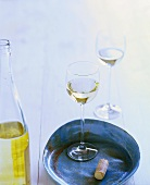 Bottle of white wine and two glasses