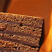 Piece of chocolate cake on brown background