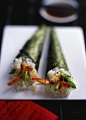 Two California-maki with shrimps and avocado