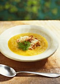 Fish soup with baguette and garlic paste