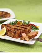 Barbecued tuna steak with sesame panade