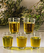 Various types of olive oil in glasses