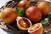 Blood oranges, variety: Sanguinello (Citrus sinensis), in basket