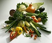 Vegetable still life, arranged in the centre of the picture