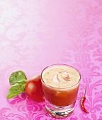 Pepper, tomato and chili juice in glass