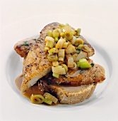 Chicken breast and spring onions in an open sandwich