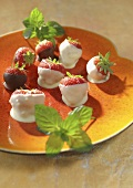 Strawberries with white and dark couverture
