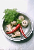 Ginger, chili peppers, button mushrooms and coriander leaves
