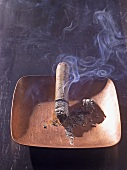 Smoking cigar in ashtray