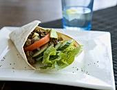 Wrap with meat, vegetables and salad