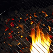Flaming barbecue grill