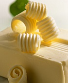 Block of butter with butter curls