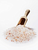 Himalayan salt with wooden scoop