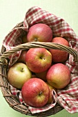 Fresh red apples in basket