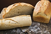 White tin loaf, baguette and farmhouse bread