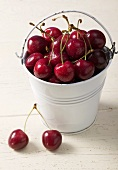 Cherries in and beside bucket