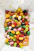 Many coloured jelly beans (overhead view)