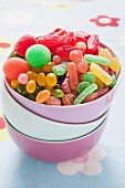 Assorted jelly sweets in a bowl