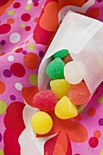 Coloured jelly sweets in a bag