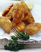 Chicken nuggets garnished with parsley