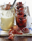 Red fruit compote with custard
