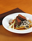 Venison fillet with wild rice and vegetables