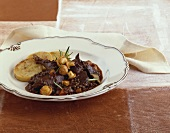Hunter's stew with venison, lentils and mushrooms