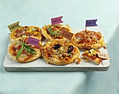 Pizzas with name flags for children