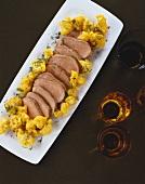 Roast veal loin with saffron cauliflower