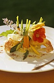 Scampi tempura with vegetables and mashed potato