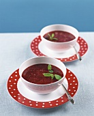 Raspberry soup with fresh mint