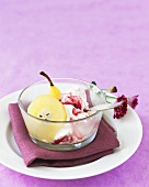 Ginger pears with cranberry ice cream