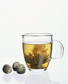 Jasmine tea in glass cup
