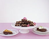 Three different chocolate cakes