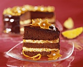 Chocolate cake with orange cream