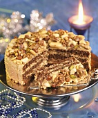 Nut cake for Christmas, partly sliced