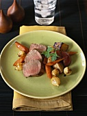 Beef fillet with vegetables and potatoes