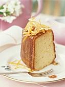 Piece of orange cake with candied orange zest