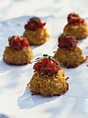 Mini-crab cakes with tomatoes