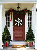 House door decorated for Christmas