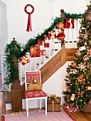Decorated staircase and Christmas tree