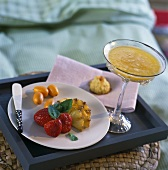 Breakfast tray with fresh fruit