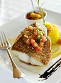 Fried grouper fillet with salsa