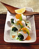 Plaice rolls with pak choi
