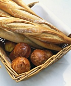 Bread basket with baguette and brioche
