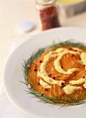 Salmon carpaccio with gravlax sauce