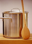 Pan with wooden spoon