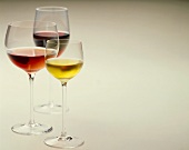 Dessert wine, rosé wine and red wine in glasses