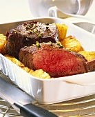 Ostrich steak with peppered edge