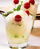 Champagne and mint granita with raspberries